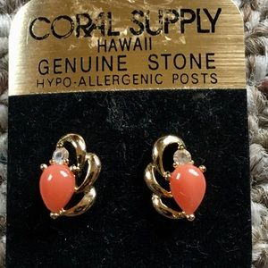 Jewelry - Coral stone post earrings